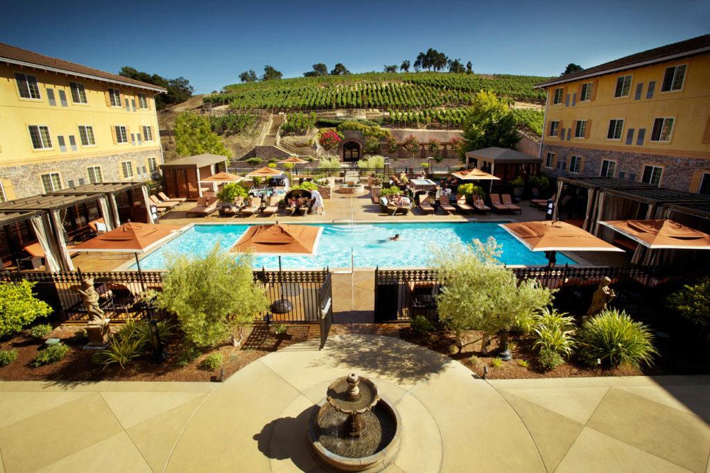 Meritage pool and vineyards
